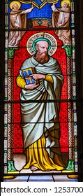 PISA, ITALY - SEPTEMBER 26. 2017 Saint Thadeus Jude Apostle Disciple Stained Glass Baptistery of Saint John Piazza del Miracoli Cathedral Pisa Tuscany Italy. One of the 12 Disciples, Completed 1363.
