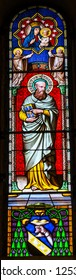 PISA, ITALY - SEPTEMBER 26. 2017 Saint Thadeus Jude Apostle Disciple Mary Baby Jesus Stained Glass 1363 Baptistery of Saint John Piazza del Miracoli Cathedral Pisa Tuscany Italy. One 12 Disciples,