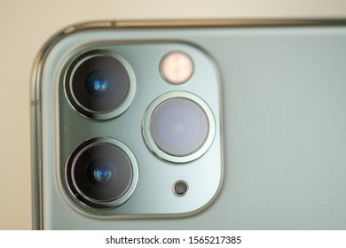 PISA, ITALY - SEPTEMBER 27, 2019: Apple iPhone Pro Max Midnight Green with the triple camera. It is a technology innovation in photography.