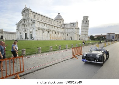 PISA (PI), ITALY - SEPTEMBER 19: A black Triumph TR2 takes part to the GP Nuvolari classic car race on September 19, 2015 in Pisa (PI). The car was built in 1954.