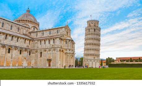 Pisa, Piazza dei miracoli, with the Basilica and the leaning tower - Italy