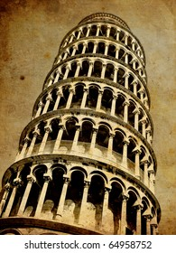 Pisa tower vintage postcard