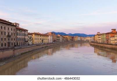 Pisa (Tuscany, Italy), the city of Leaning Tower. Here: the Arno river at sunset