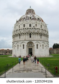 PISA, TUSCANY, ITALY, SEPTEMBER 1, 2014: Piazza dei Miracoli with the Basilica and the leaning tower in Pisa, Italy