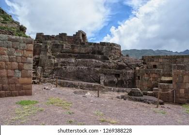 Pisac, Cusco, Peru / December 28, 2018: Pisac history building