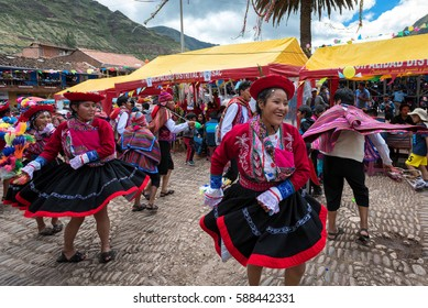PISAC, PERU - FEB 26: Carnival festivities at the city center in Pisac, Peru on February 26, 2017. The day is highlighted by tribal dancing and water fights.