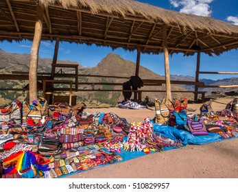 Pisac, Peru - May 19, 2016: Market near the entrance to Pisac ruins.