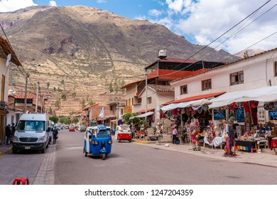 Pisac, Peru - Sep 17, 2018: View of the village Pisac in Sacred Valley of Peru. It is known for its Incan ruins and market.