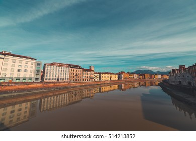 PISA-ITALY: CIRCA NOVEMBER 2016: Swollen Arno River after a strong tempest in Tuscany.