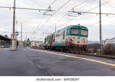 PISA-ITALY: JANUARY, 28 2016: Trenitalia Isolated Diesel Locomotive D345 is Passing from the Station
