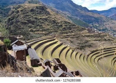 PISAQ / PERU, August 16, 2018: Top view of the terraces in the ruins of Pisaq near Cusco.
