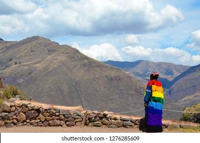 PISAQ / PERU, August 16, 2018: A guard looks into the distance at the ruins of Pisaq ruins near Cusco.