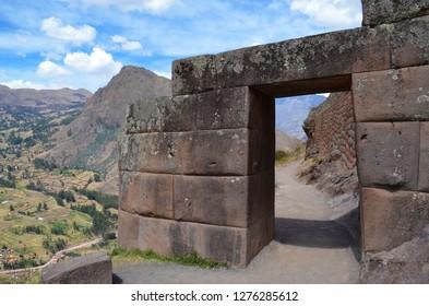 PISAQ / PERU, August 16, 2018: Door at one of the entrances to Pisaq ruins near Cusco.