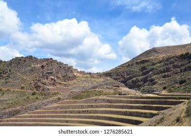 PISAQ / PERU, August 16, 2018: Bottom view of the terraces in the ruins of Pisaq near Cusco.