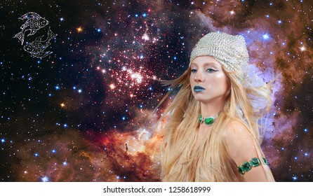 Pisces Zodiac Sign. Astrology and horoscope concept. Beautiful woman Pisces on the galaxy background