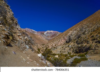 Pisco Elqui in Paihuano, Coquimbo Region, Chile near La Serena & Santiago during fall foilage. Striking blue sky from dry air & clear sky in the Andes mountain to hike, camp, heal & stargaze.