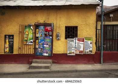 PISCO ELQUI-AUGUST 14, 2014: Little store in Pisco Elqui Valley. Chile, on August 14, 2014
