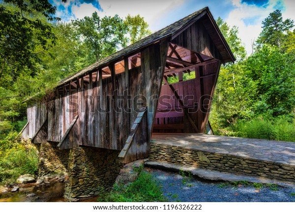 Pisgah covered bridge in a remote region of North Carolina