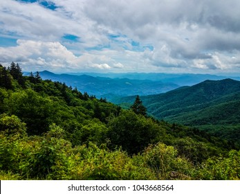 The Pisgah National Forest along the Blue Ridge Parkway in North Carolina, is an area of spectacular views. This image was captured between mile marker 410 and 450 on a beautiful partly cloudy day.