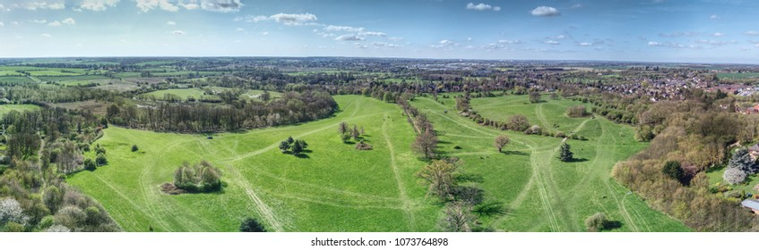 Pishiobury Park - aerial panoramic of an Essex country park in Sawbrdgeworth, near Harlow