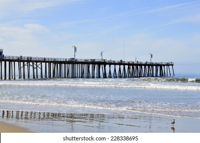 Pismo Beach Pier large wooden oceanfront in California.