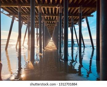 Pismo, California - January 23 2019: Wooden pier in the city of Pismo in California