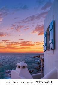 Piso Livadi beach on Paros Greece island at sunrise