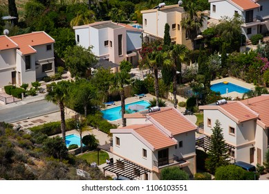 PISSOURI BAY, CYPRUS - JUNE 14, 2017: The Pissouri bay resort is a small village settlement with private apartments on the Mediterranean sea coast