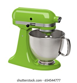 Pistachio green stand / kitchen mixer isolated on white background including clipping path.