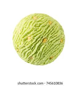 Pistachio ice cream scoop with pistachio nuts pieces / Green pistacchio kiwi sorbet ice-cream ball with nuts pistacchio