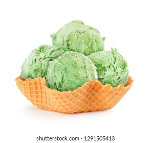pistachio ice cream in a waffle basket
