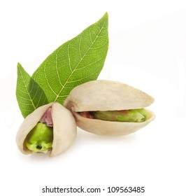 Pistachio nuts, fruits isolated on white background
