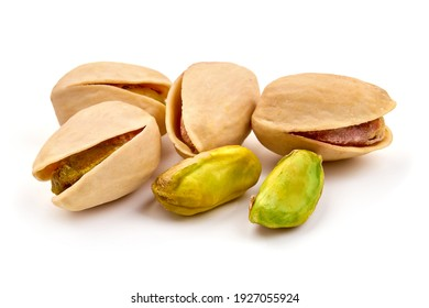 Pistachio nuts, isolated on white background. High resolution image.