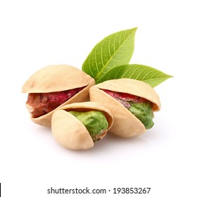 Pistachio nuts with leaves