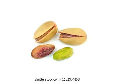 Pistachio nuts (  Turkish Antep nuts ) isolated on white background.  Macro shot.