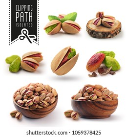 Pistachio set with clipping path