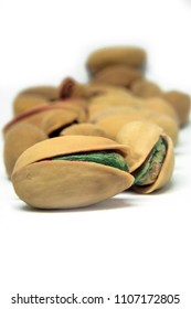 pistachios (antep fisttik)on a white isolated background in Turkey