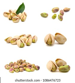 pistachios close up. Isolated on a white background.