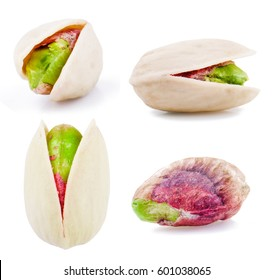 Pistachios at different angles isolated on white background. Ideal for packaging
