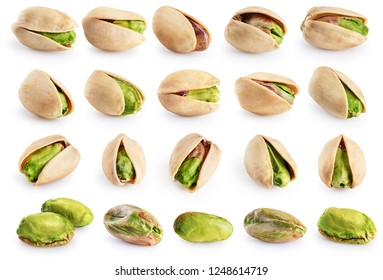 Pistachios isolated on a white background. Collection with clipping path.