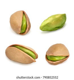 Pistachios isolated on white background including clipping path