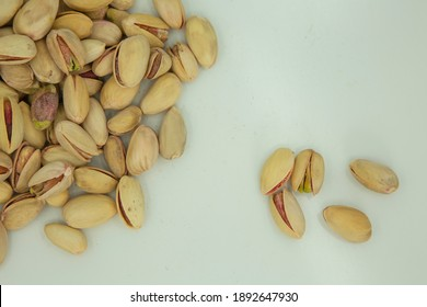 Pistachios Pista Nuts Decorated Green Leaves Stock Photo.