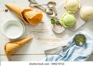 Pistacio and vanilla ice cream, copy space