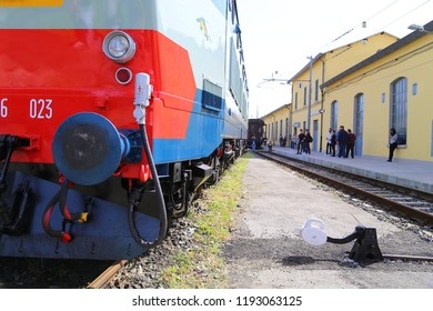 Pistoia, Italy - April, 08, 2018: ATTS open old trains warehouse in Pistoia . Electric locomotive 656
