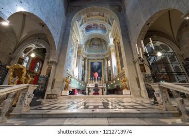 PISTOIA, ITALY, MAR 26, 2016: The Presbytery of the cathedral of San Zeno (St. Zeno) of Pistoia, X century, Tuscany, Italy, Europe