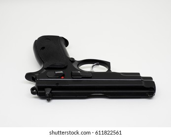 pistol 9 mm. black color on white background isolated