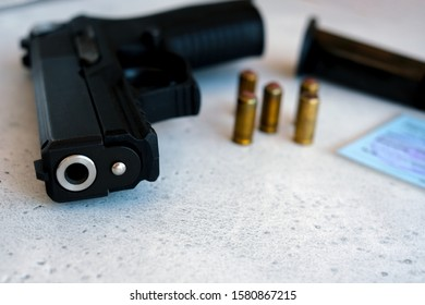 a pistol 9 mm and bullets to him. pistol and ammunition to him
