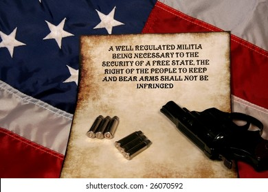 pistol ammo and second ammendment on the American flag