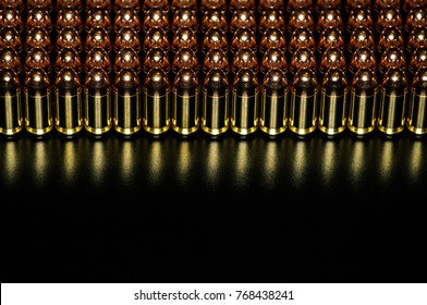 Pistol ammunition with the dark background