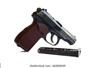 pistol with ammunition isolated on white background stock photo